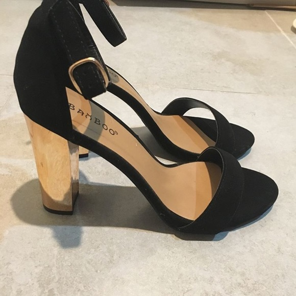 Prom Formal Black And Gold Heels